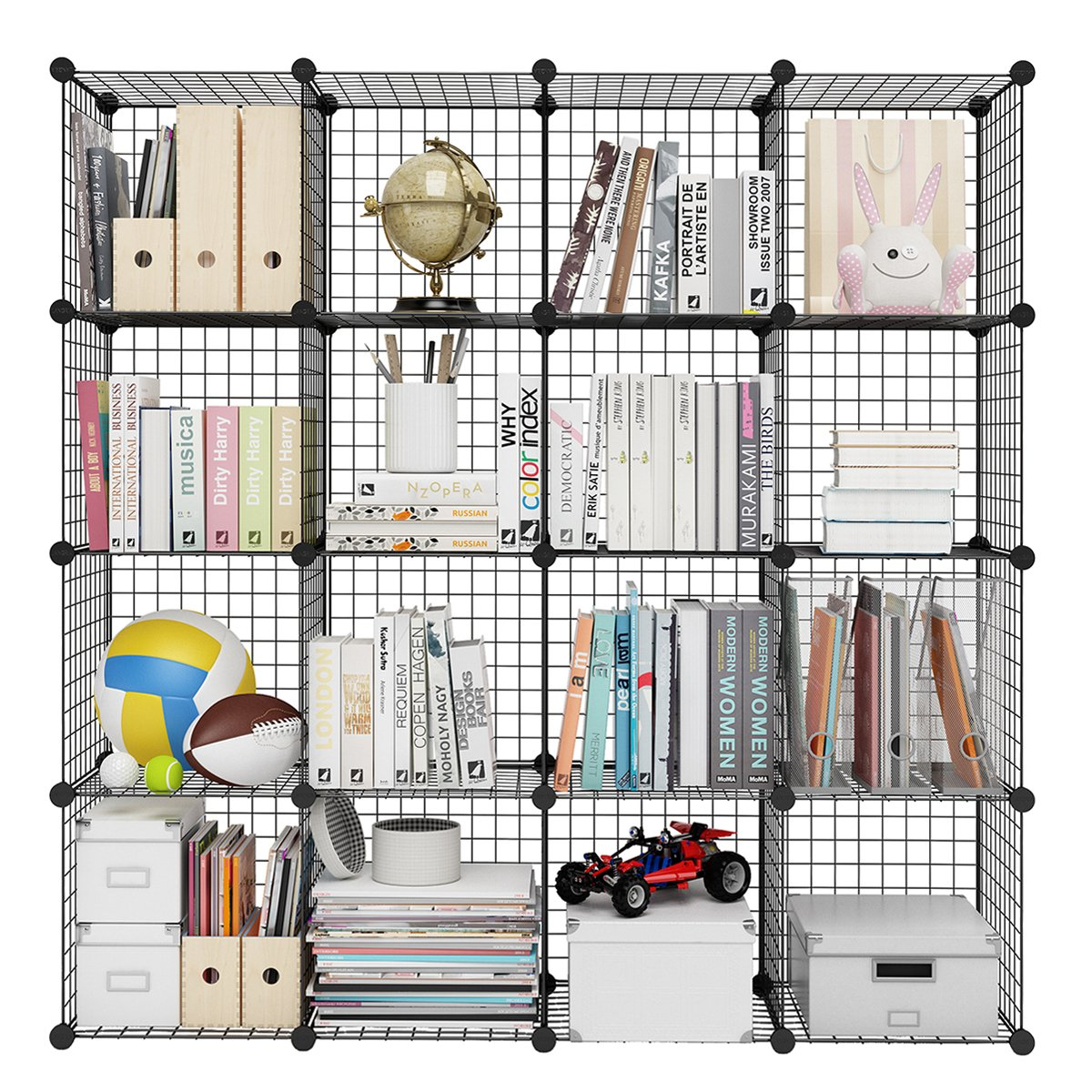 LANGRIA 16-Cube DIY Wire Grid Bookcase, Multi-Use Modular Storage Shelving Rack, Open Organiser Closet Cabinet for Books, Toys, Clothes, Tools, Max Capacity 20kg per Cube, Black