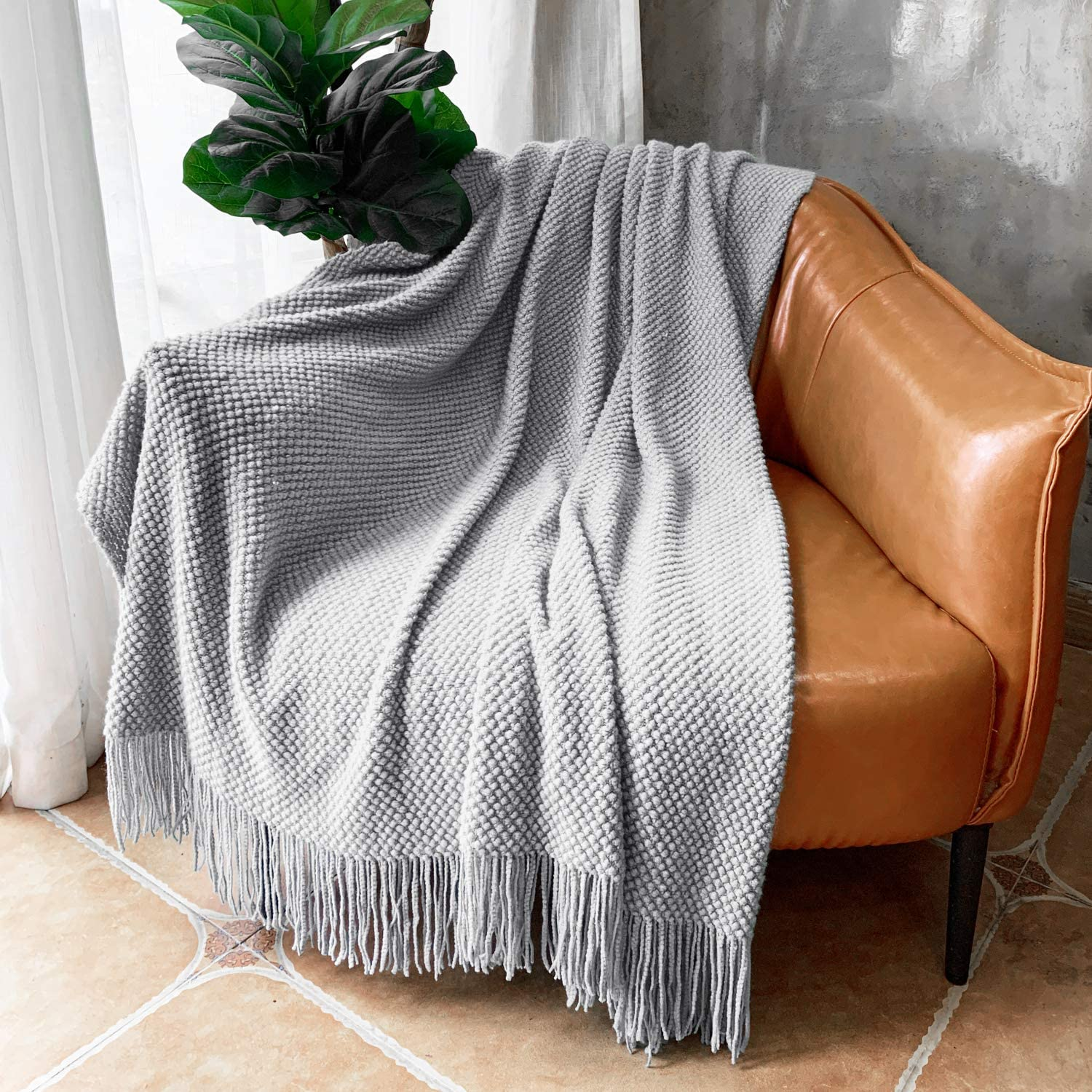 LOMAO Knitted Throw Blanket with Tassels Bubble Textured Soft Lightweight Throws for Couch Cover Home Decor (Light Grey, 50x60)