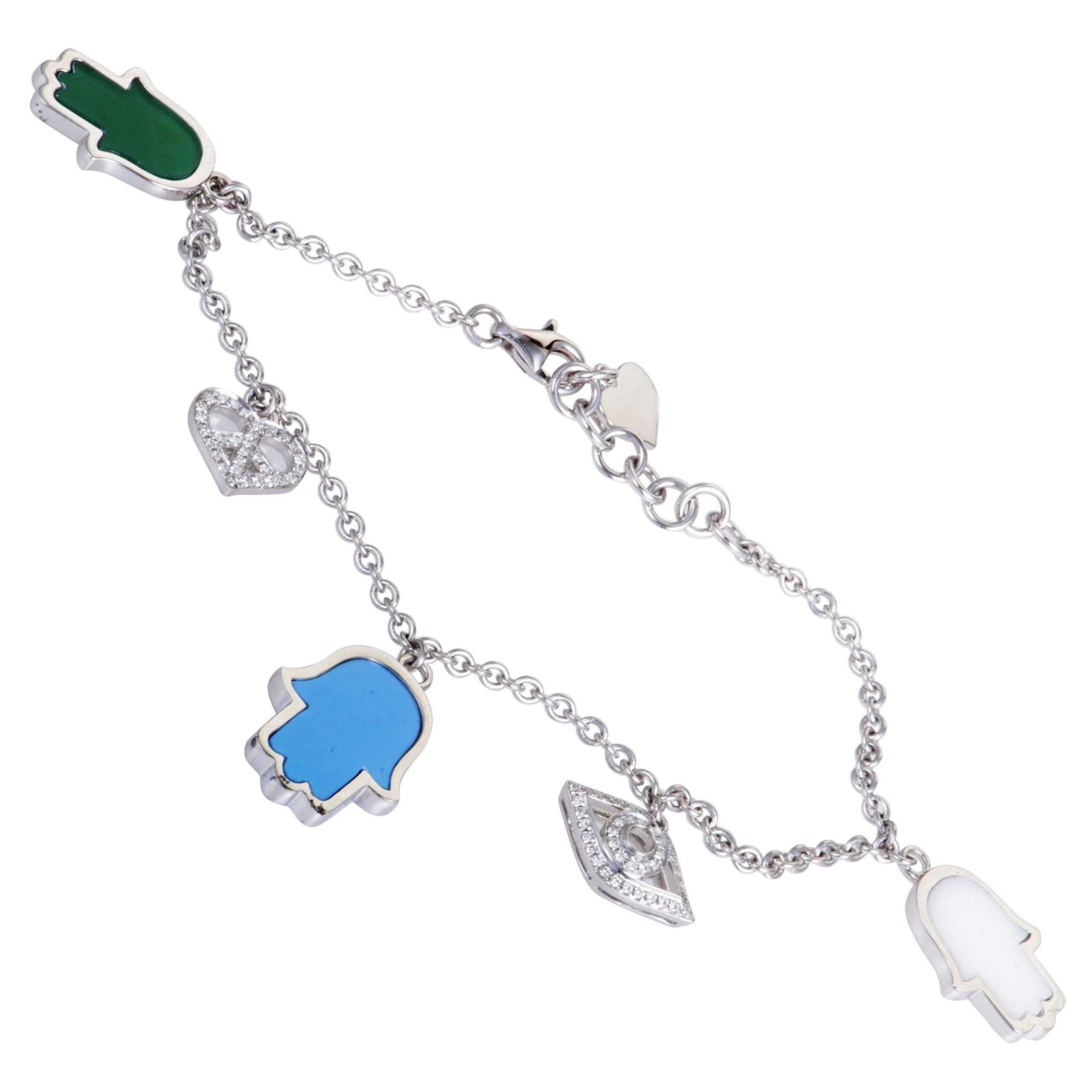 Luxury Bazaar 18K White Gold Diamond Turquoise and Agate Charm Bracelet