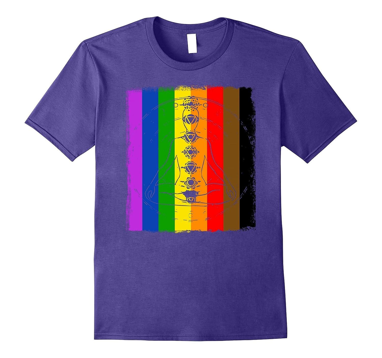 7 Chakras Yoga Rainbow LGBTQ Flag Black  Brown Stripes Tee-PL