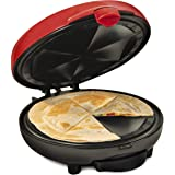 Taco Tuesday Deluxe 8-Inch 6-Wedge Electric Quesadilla Maker with Extra Stuffing Latch, Red
