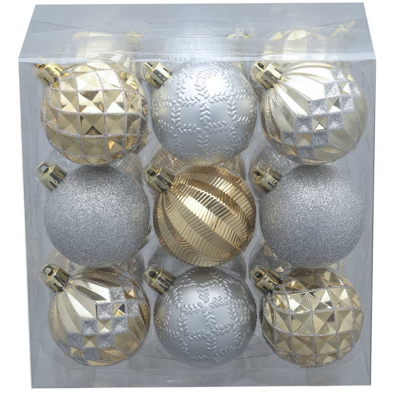 Product TitleHoliday Time 18-Pack Gold/Silver Round Ornaments