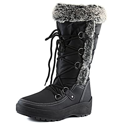 Amazon.com | Women's DailyShoes Woman's Knee High Up Warm Fur ...