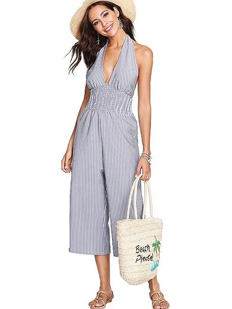 c8a0f2535d2e Amazon.com  Romwe Women s Cute Open Back Pleated Halter High Waist Wide Leg  Beach Romper Jumpsuit Blue XL  Clothing