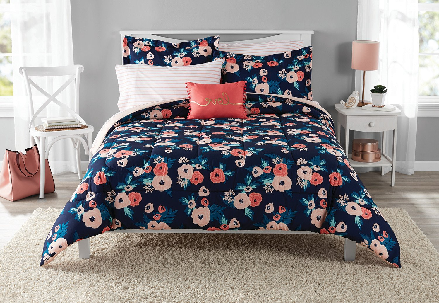 NA 8 Piece Girls Navy Blue Rose Bouquet Comforter With Sheet Full Set, Coral Pink Whimsical Floral Blooms Pattern, Reversible Blush Pink Stripe Kids Bedding Garden Nature Themed Teen, Microfiber