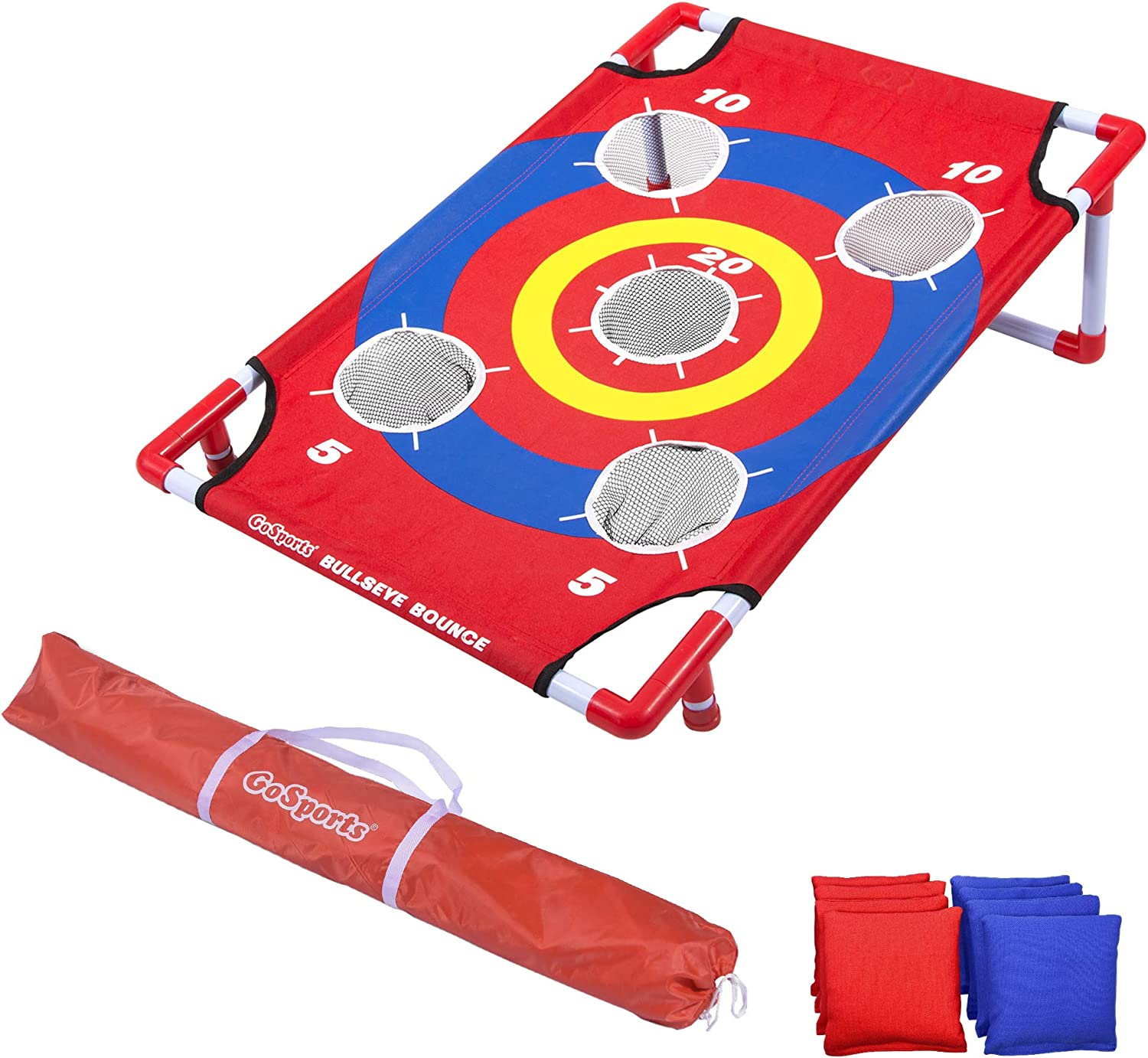 Great for All Ages /& Includes Fun Rules GoSports 5 Hole Cornhole Toss Game