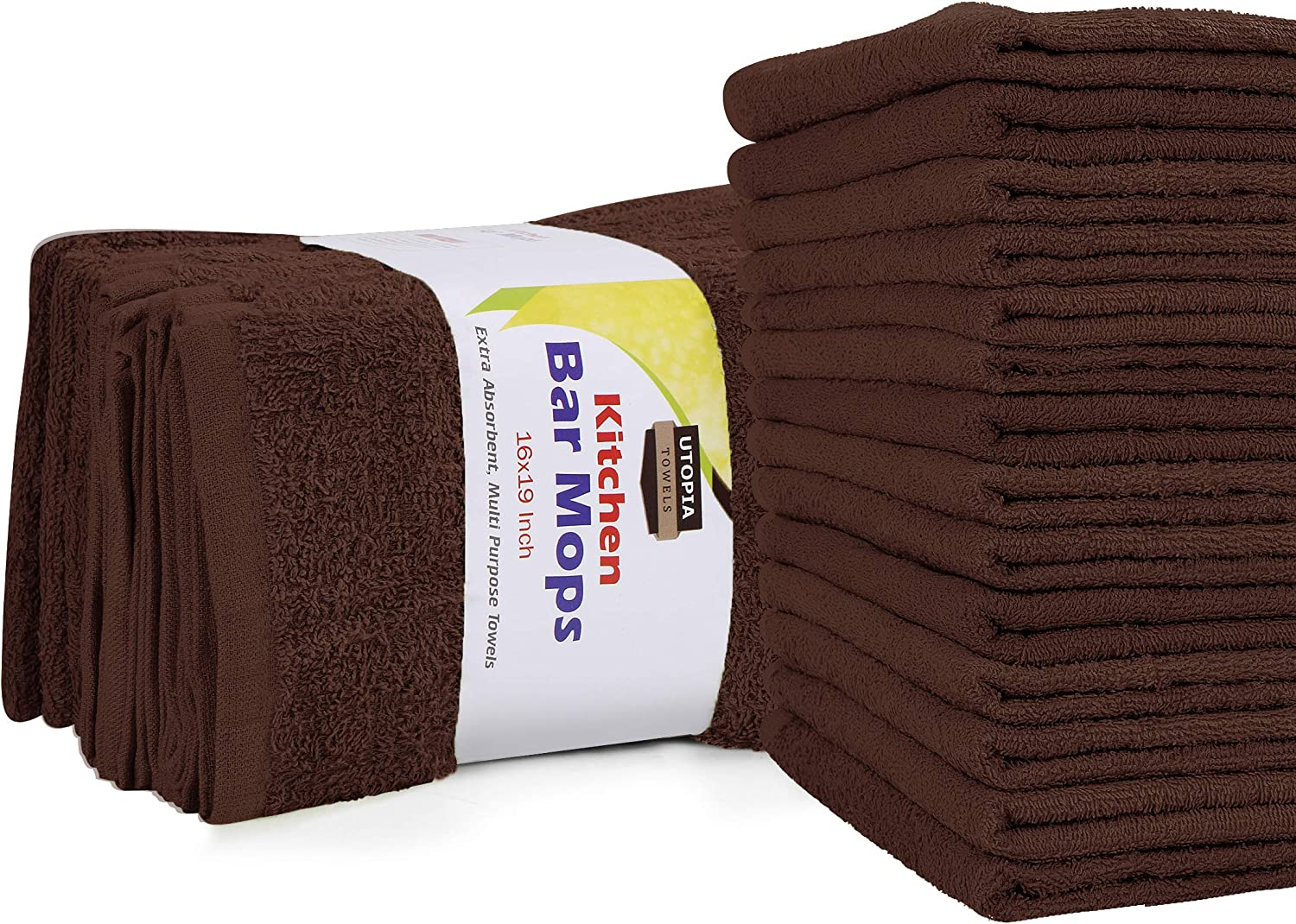 Utopia Towels Kitchen Bar Mops Towels, Pack of 12 Towels - 16 x 19 Inches, 100% Cotton Super Absorbent Brown Bar Towels, Multi-Purpose Cleaning Towels for Home and Kitchen Bars