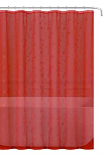 Decorative Sheer Fabric Shower Curtain Red With Silver Embroidered Flowers