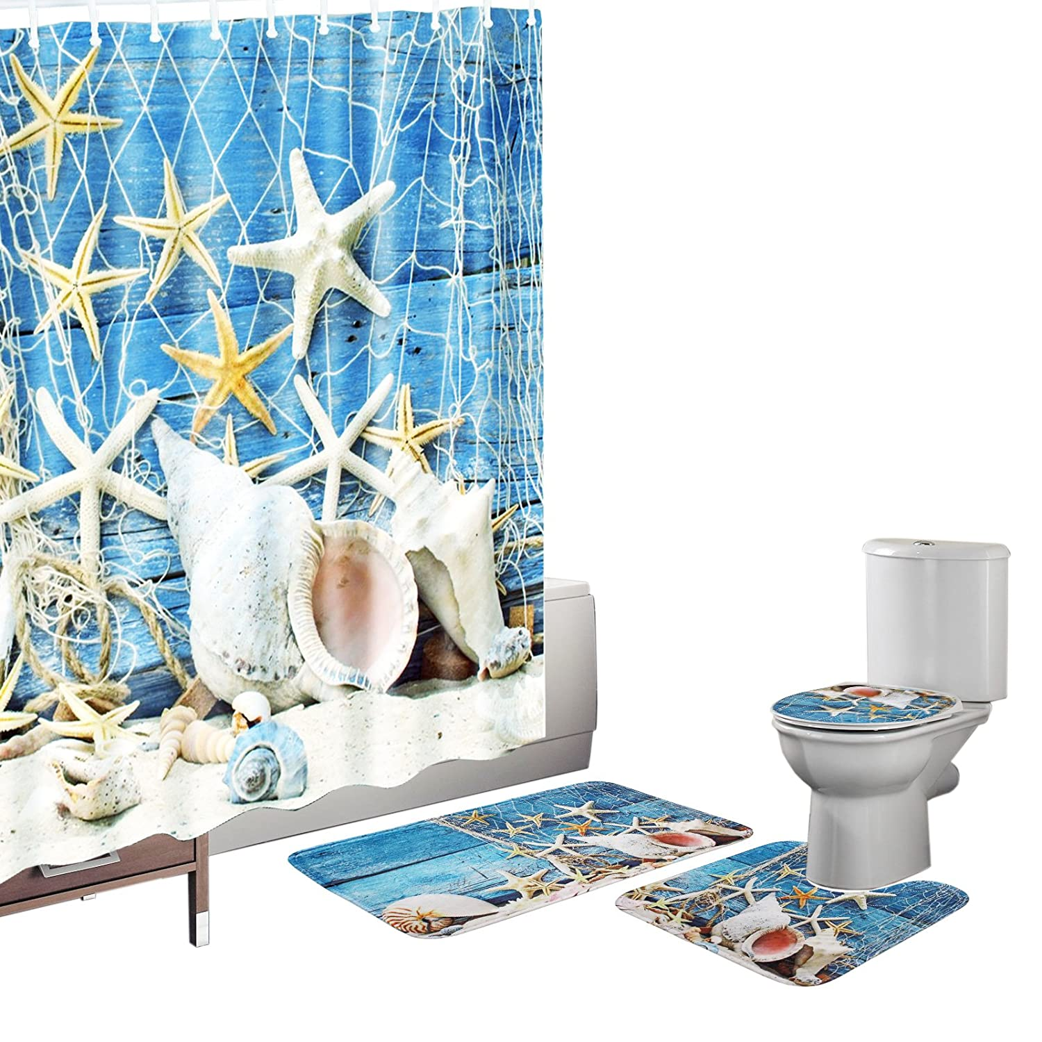 Bearbae 16 Pieces Bath Mat Set Shower Curtain Set Non-slip Blue Seashells Starfish Bathroom Rug Carpet Toilet Cover Shower Curtain and 12 Hooks BB