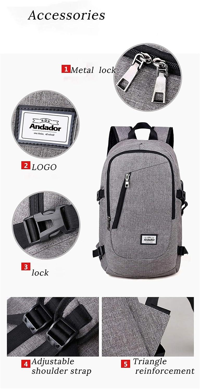 Hombre Mochila portátil Carga USB Mochilas para computadora Bolsas ...