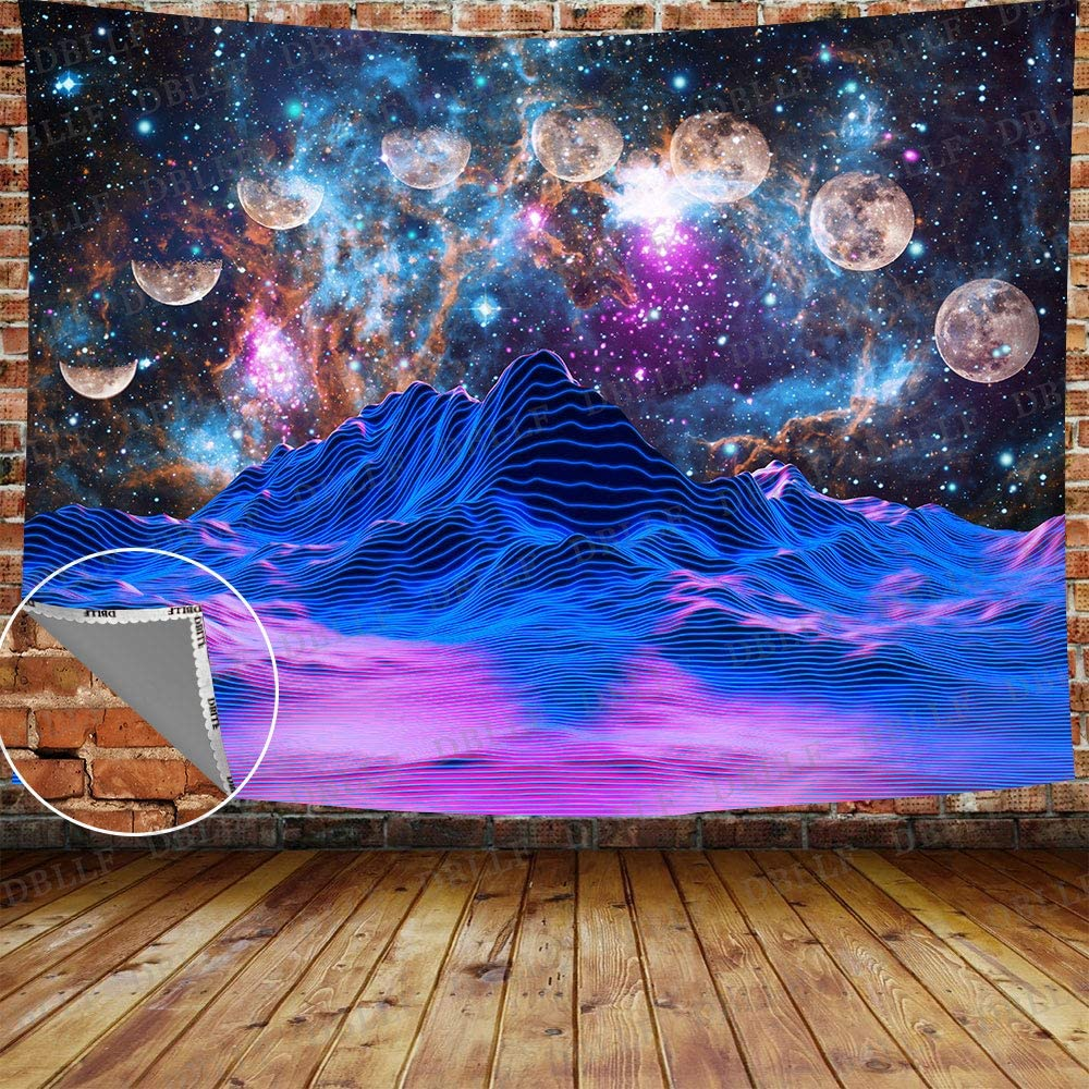 DBLLF Moon Phases Watercolor Mountain Tapestry Lunar Eclipse Tapestry Psychedelic Starry Night Stars Tapestry Forest Trees Large 80
