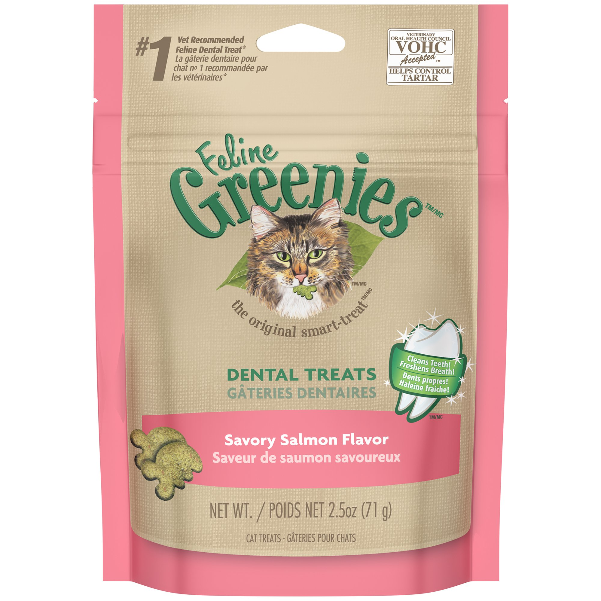 Feline GREENIES Dental Cat Treats Salmon 2.5 oz