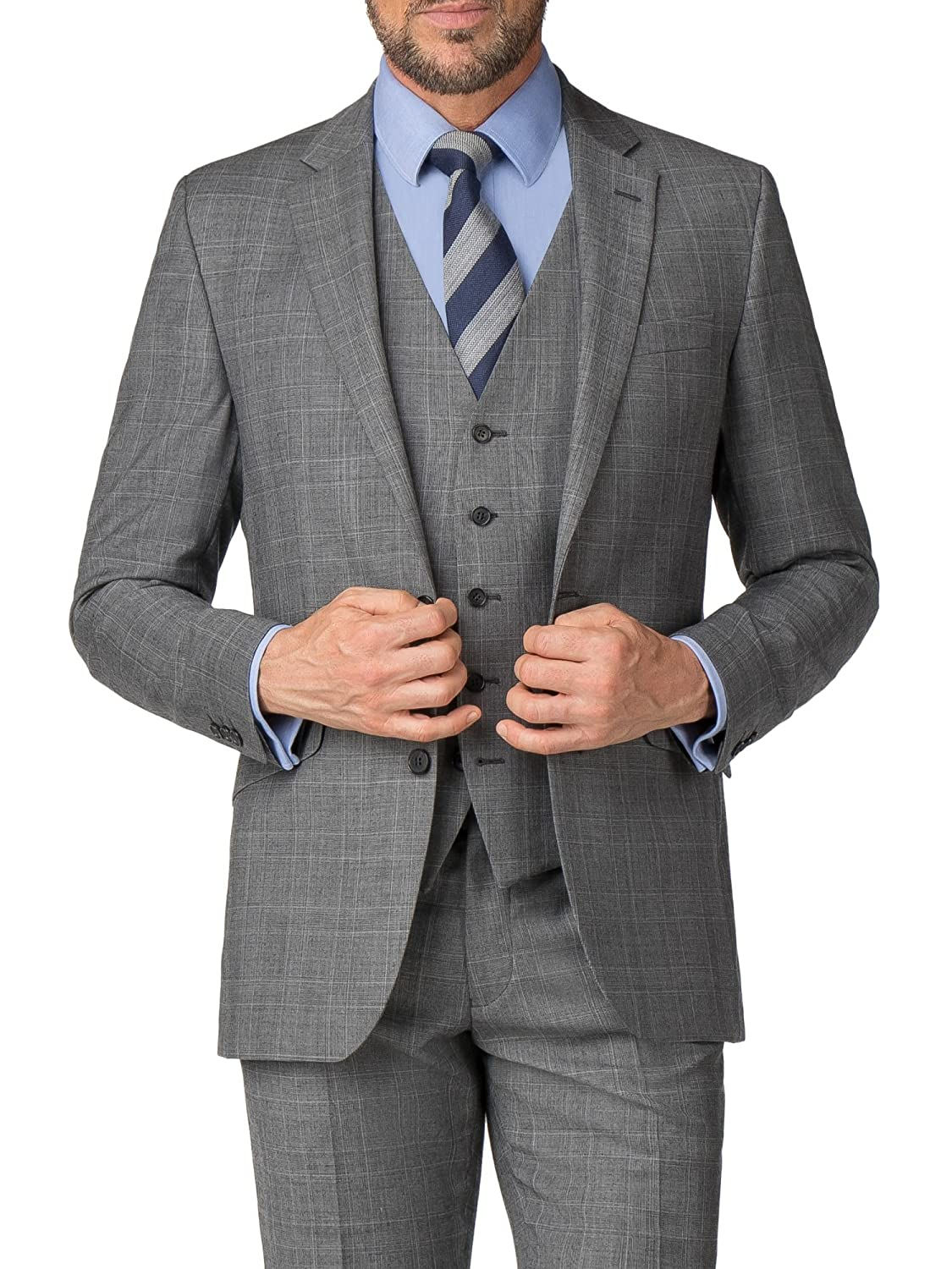 b2042c87252 Pierre Cardin Men's Grey Suit Jacket in 40L to 46S: Amazon.co.uk: Clothing