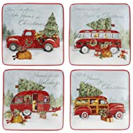 """Certified International 22791SET4 Home for Christmas 6"""" Canape Plate, Set of 4 Assorted Designs, One Size, Mulicolored"""