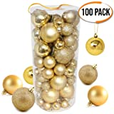 100 Premium Gold Christmas Baubles - Multiple Beautiful Balls with Unique Finishes - Assorted Sizes - Ideal Ornaments to Create that Perfect Xmas Tree Hanging Decoration - Festival Holiday Decor.