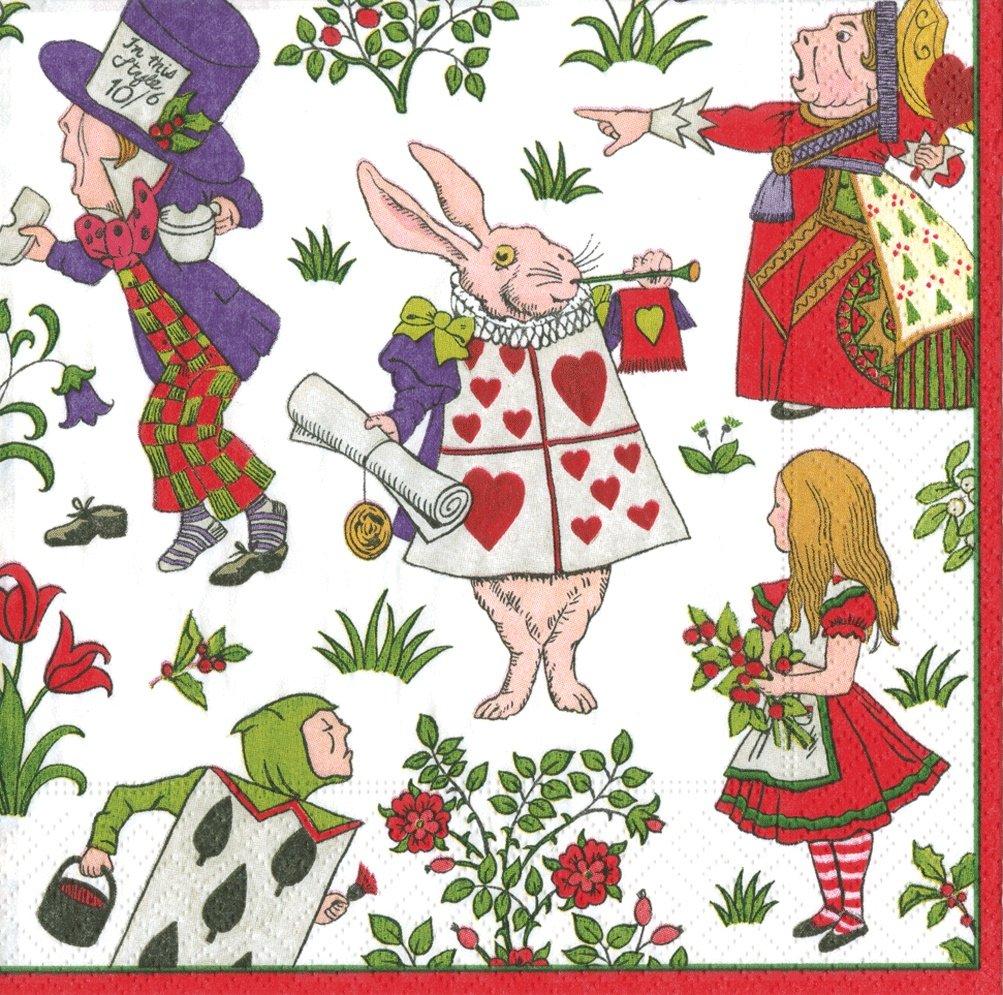 Caspari Alice in a Winter Wonderland Paper Dinner Napkin, Pack of 20, Multi-Colour, 25.4 x 3 x 25.4 cm 13290D