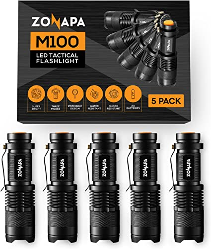 ZONAPA LED Mini Flashlights (pack of 5) Tactical, Compact, Portable | Ultra-Bright Lighting | Indoor and Outdoor Use | Emergency, Camping, Travel, Hiking - - Amazon.com