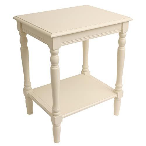 Painted Antique White End Accent Table with Bottom Shelf