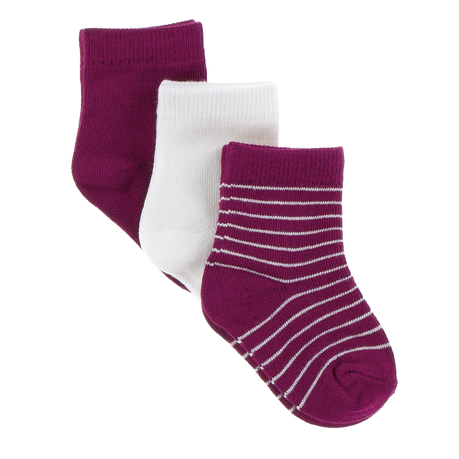 Tokyo Dragonfruit Stripe and Natural 2T-4T KicKee Pants Sock Set in Dragonfruit