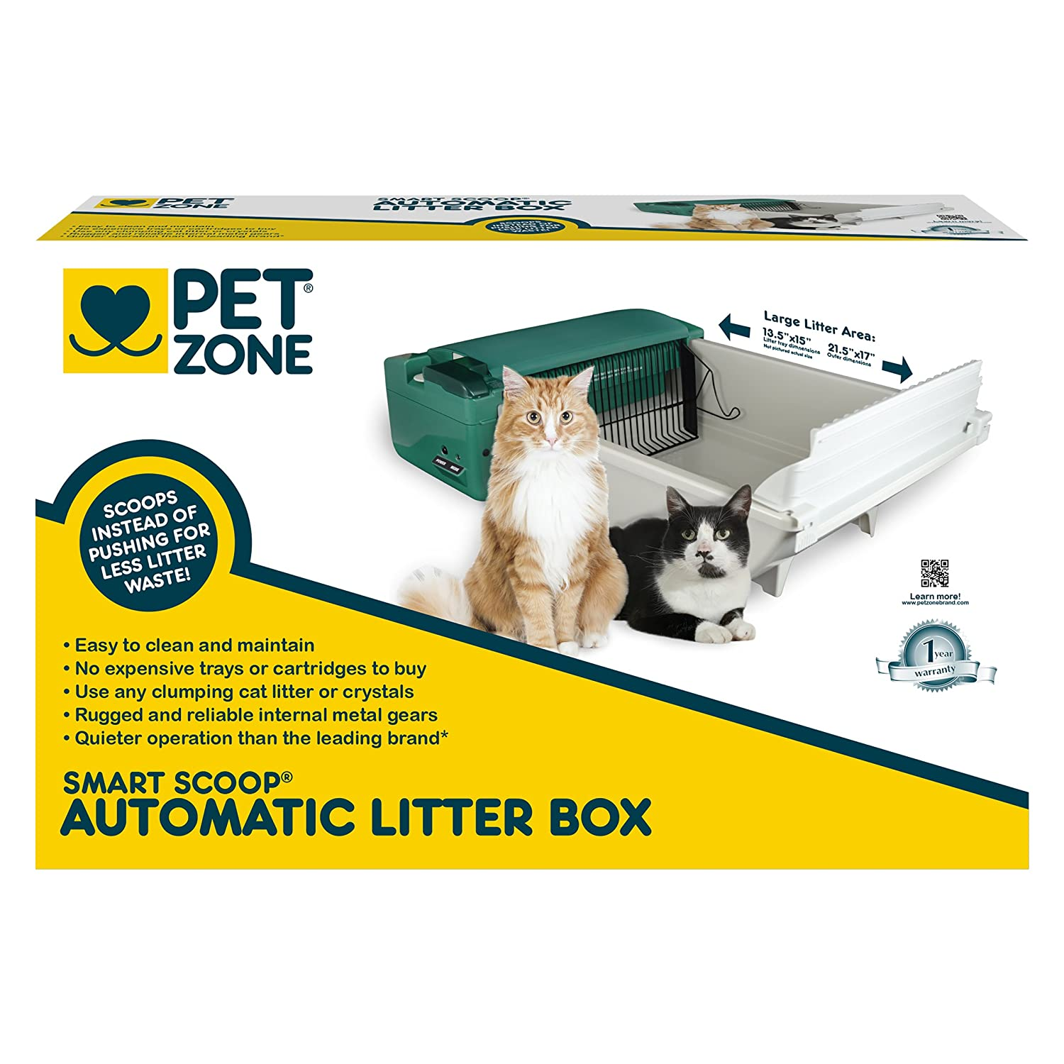 amazoncom pet zone smart scoop automatic litter box with bags and filters self cleaning cat box pet supplies
