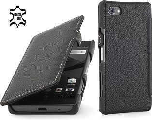 StilGut Book Type Case con Clip, Custodia in Pelle per Sony Xperia Z5 Compact, Nero