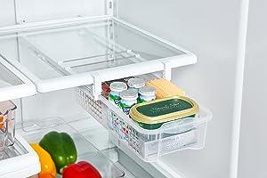Smart Design Refrigerator Pull Out Bin & Home Organizer w/Extendable Rails & Handle - BPA Free - for Fridges & Freezers Food Storage - Kitchen (Medium)