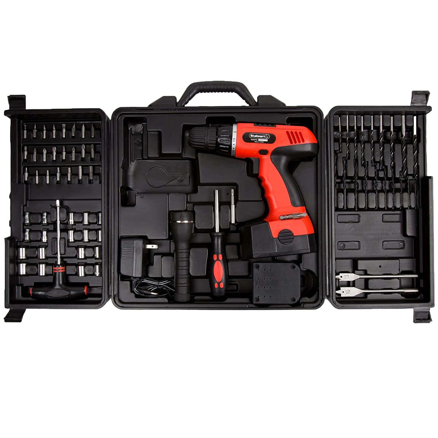 Cordless Drill Set 78 Piece Kit 18 Volt Power Tool with Bits Sockets Drivers Battery Charger AC Adapter Flashlight and Carrying Case by Stalwart