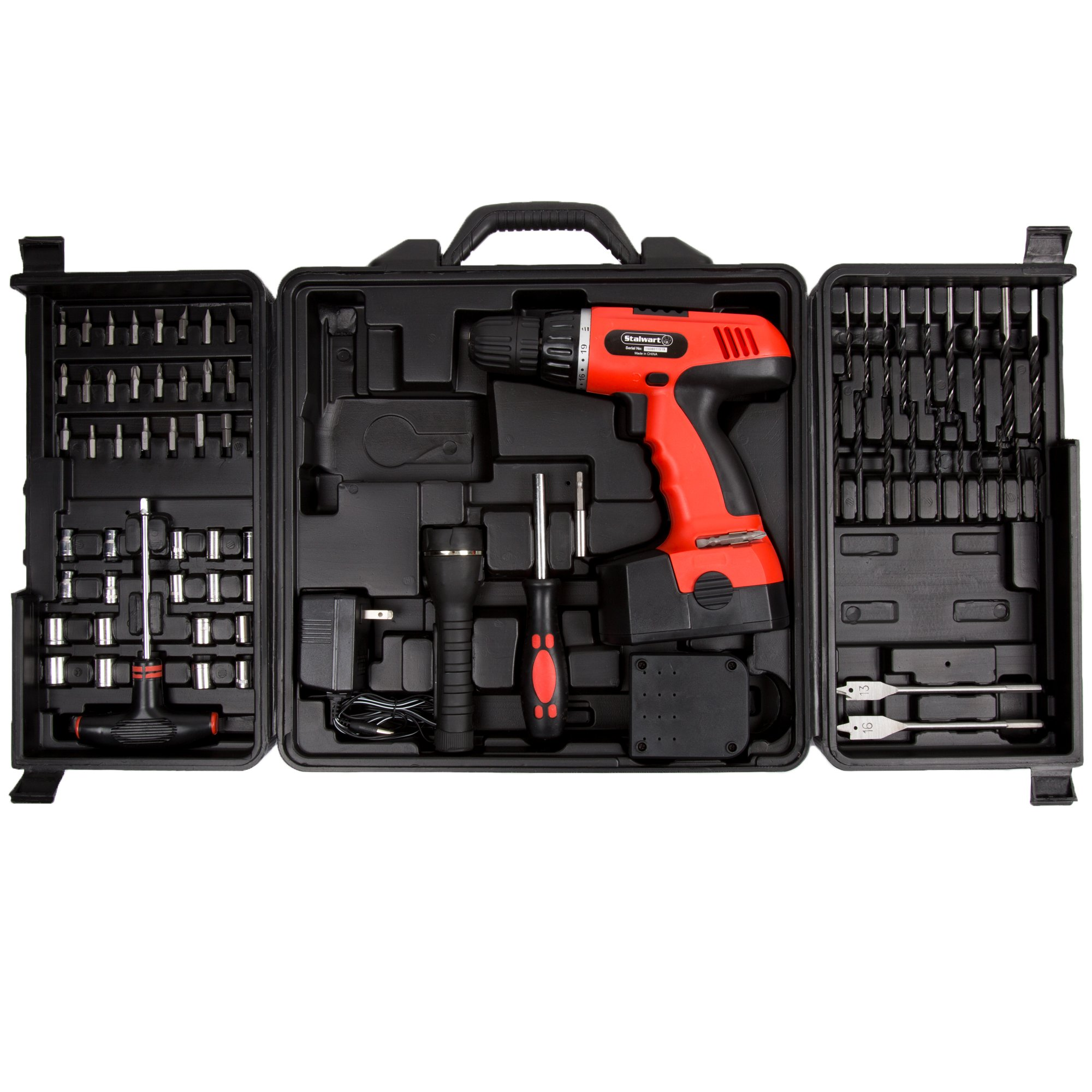 Cordless Drill Set-78 Piece Kit, 18-Volt Power Tool with Bits, Sockets, Drivers, Battery Charger, AC Adapter, Flashlight and Carrying Case by Stalwart by Stalwart
