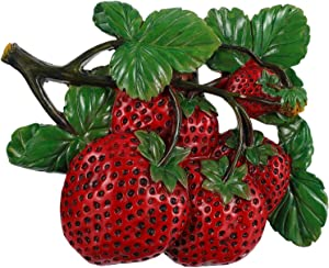 DOITOOL 3D Artificial Vegetable Wall Art Large Lifelike Vegetable Fruit Decor Hanging Tomato Strawberry A pple for Wedding Kitchen Photography Decoration (Red)
