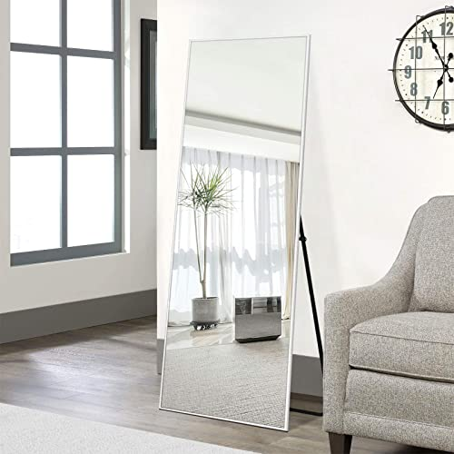 NeuType Full Length Mirror Dressing Mirror 65″x22″ Large Rectangle Bedroom Floor Standing Mirror Wall-Mounted Mirror Standing Hanging or Leaning Against Wall Aluminum Alloy Thin Frame Silver