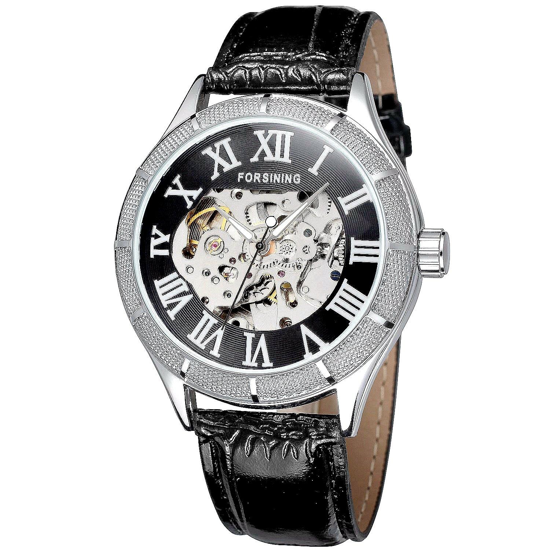 メンズスケルトンスチームパンク自動巻き自動機械高級レザー腕時計(ブラック – シルバー) B01LXAP7BE