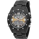 U.S. Polo Assn. Sport Men's US9033 Analog-Digital Brown Dial Black Rubber Strap Watch