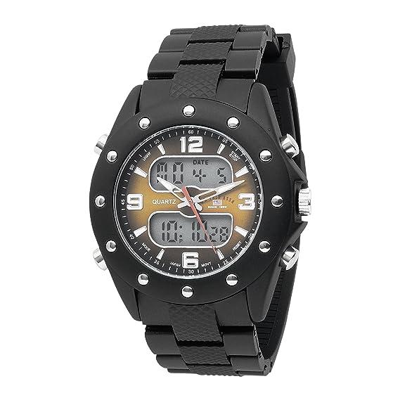 U.S. Polo Assn. - Sport US9033 - Reloj analógico Digital para Hombre, Esfera de Color marrón, Correa de Goma Negra: Amazon.es: Relojes