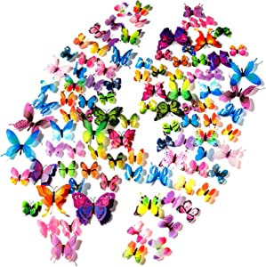 120Pcs Butterfly Wall Decals, 3D Butterflies Decor for Wall, Removable Mural Stickers for Home Decoration Kids Room Bedroom Decor, DIY Art