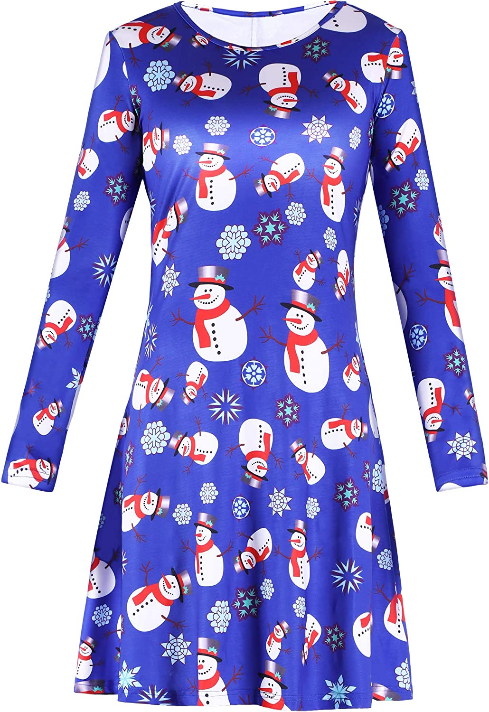 Vestido de Navidad Vestido con Mangas Largas Vestido Acampanado de L/ínea A con Elementos de Navidad Impresos para Mujeres Vestido Casual de Fiesta