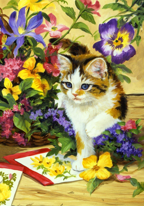 """Toland Home Garden 112100 Flower Kitty 12.5 X 18 Inch Decorative, Garden Flag (12.5"""" x 18"""")"""