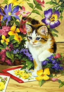 "Toland Home Garden 112100 Flower Kitty 12.5 X 18 Inch Decorative, Garden Flag (12.5"" x 18"")"