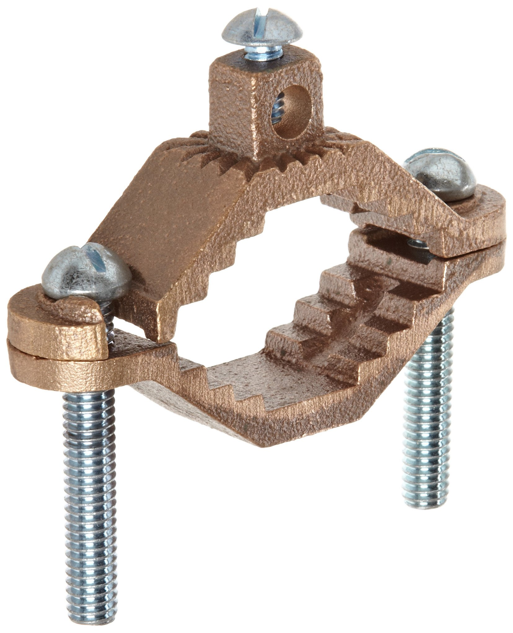 Morris Products 91662 Ground Pipe Clamp, With Adaptor Serrations, 2-10 Wire Range, 1-1/4'' - 2'' Water Pipe Range