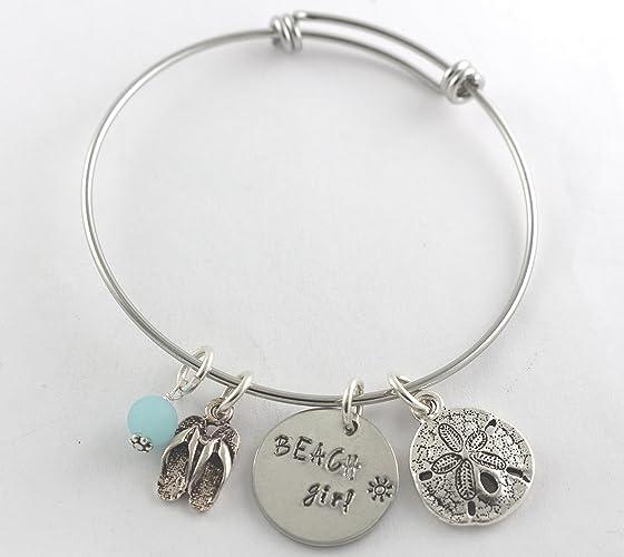 deaef61c43b Amazon.com: Beach Girl Adjustable Bangle Charm Bracelet - Summer Jewelry -  Flip Flop - Sand Dollar - Blue Seaglass - Vacation Bracelet - Cruise - Ocean:  ...