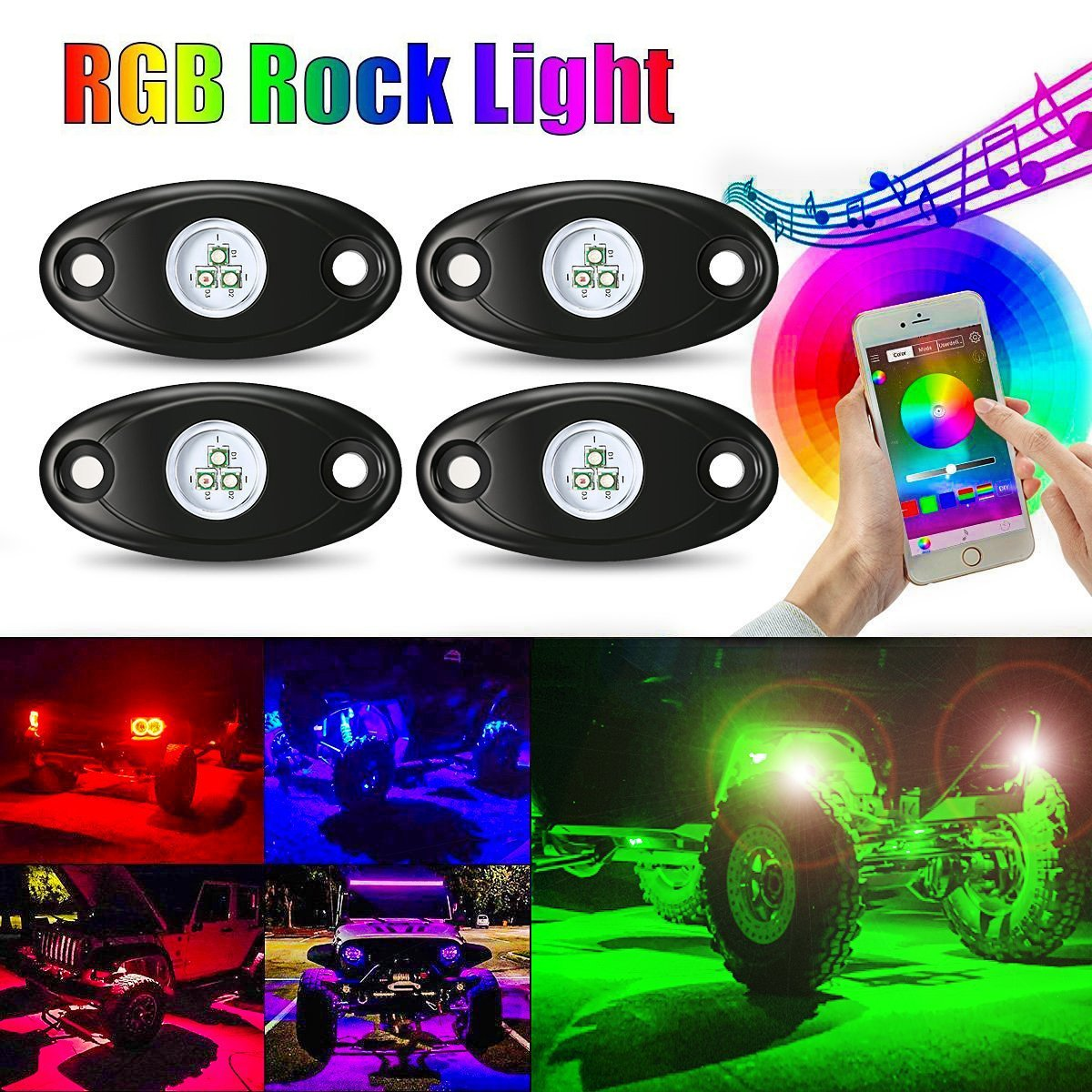 AMBOTHER 4Pcs Car RGB LED Rock Underglow Lights Kit Underbody Waterproof Trail Rig Neon Lights Kit with Cell Phone APP Mini Blue++++tooth Control for JEEP Off Road Trucks Car ATV SUV Vehicle Boat AMBOTHER Mannysen1862