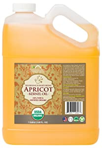 US Organic Apricot Kernel Oil, USDA Certified Organic,100% Pure & Natural, Cold Pressed Virgin, Unrefined in Amber Glass Bottle w/Glass Eyedropper for Easy Application (128 oz (1 Gallon))
