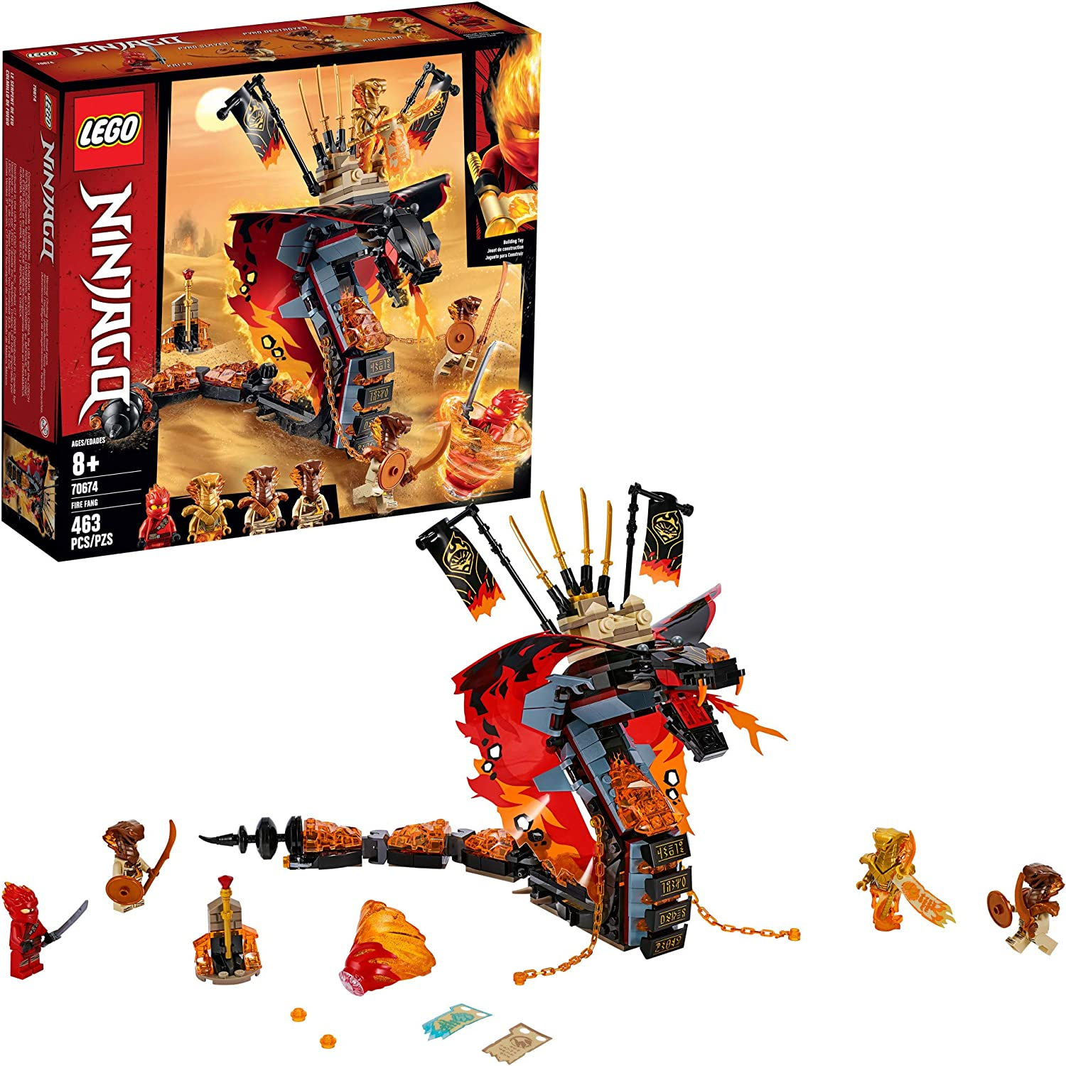 LEGO Ninjago Fire Fang 70674 Snake Action Toy Building Set with Stud Shooters and Ninja Minifigures Characters, Perfect for Group Play(463 Pieces)