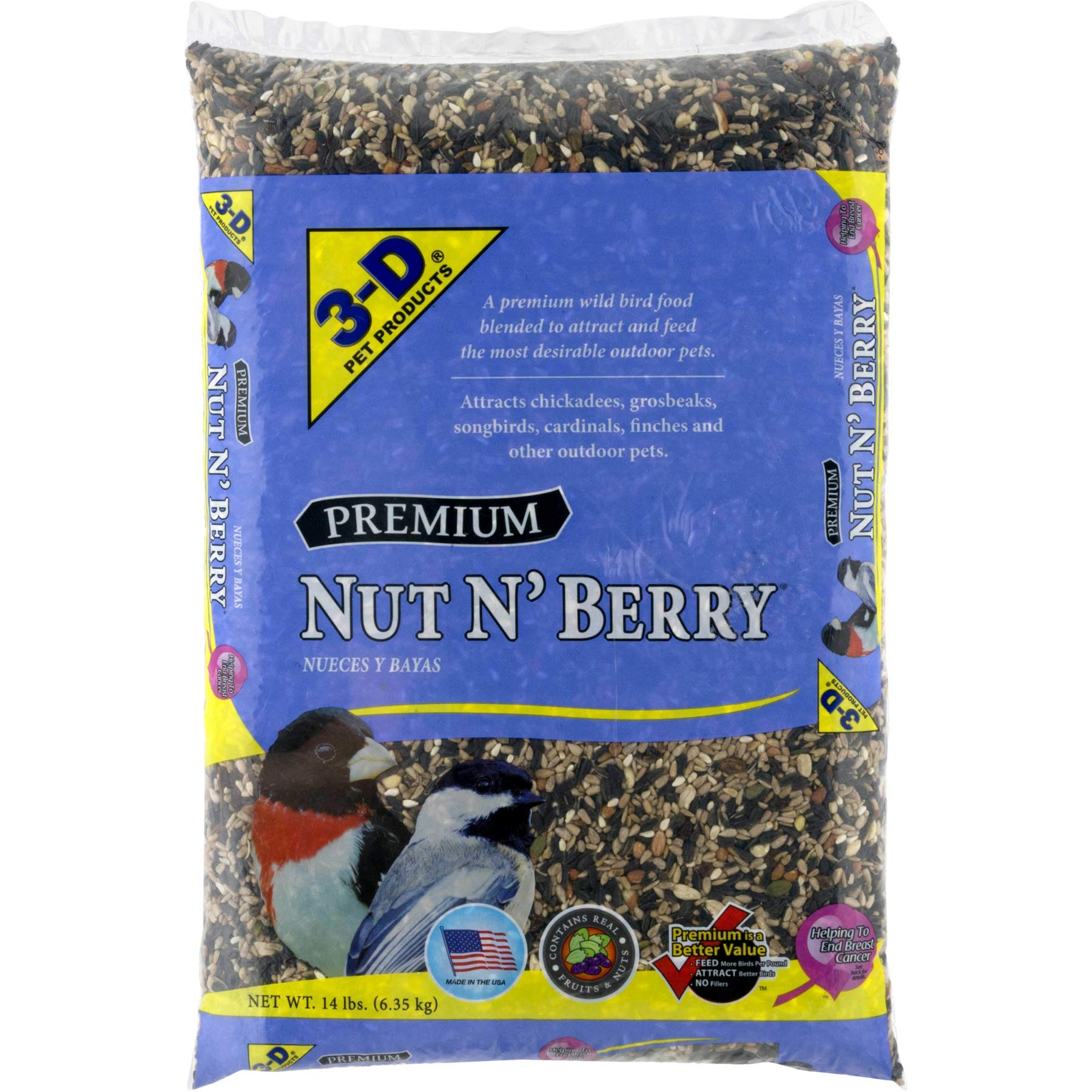 3-D Pet Products Premium Nut N' Berry Dry Wild Bird Food, 14 LB by Pet D