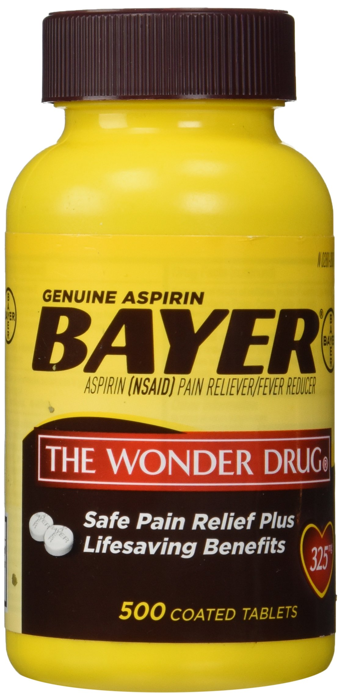 Genuine Bayer Aspirin (NSAID) Pain Reliever and Fever Reducer 325mg Per Tablet 500 Tablets per Bottle