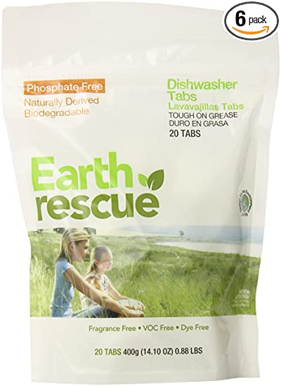 Earth Rescue Dishwasher Detergent Tabs, Fragrance Free, 20 Count (Pack of 6)