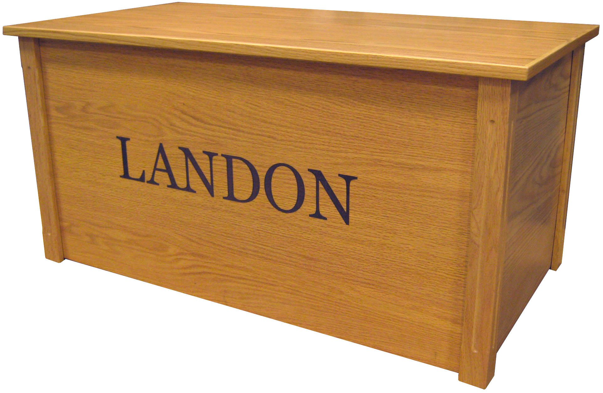 Wood Toy Box, Large Oak Toy Chest, Personalized Georgia Font, Custom Options (Standard Base)
