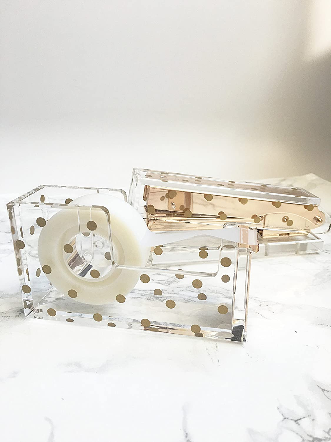 Amazon.com : Acrylic Tape Dispenser | Gold Polka Dot   Chic, Modern Desk  And Office Supplies (Tape Dispenser) : Office Products
