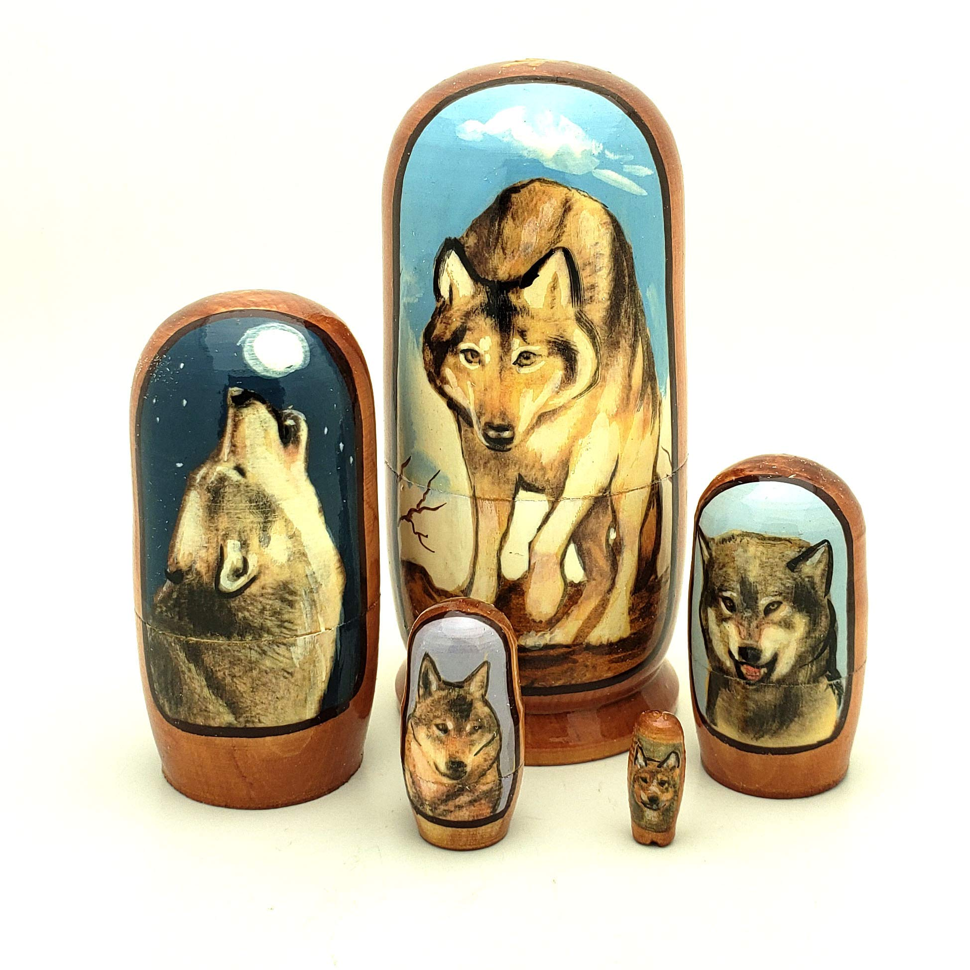 Gray Wolf Russian Handcrafted Nesting 5 Piece Doll Toy Set 4'' Tall