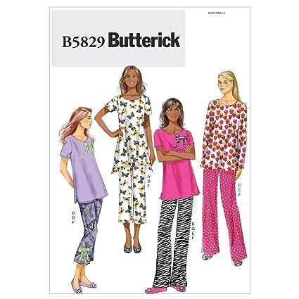 Butterick B5829 - Patrones de costura para pijama de mujer (instrucciones en inglés, francés
