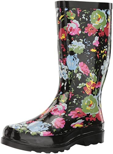 Sugar Women's Raffle Rain Boot, Black/Multi Flower, ...
